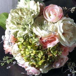 Custom Silk Wedding Bouquet Crystal Wrapped